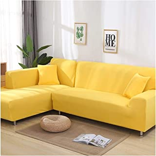 Stretch L Shaped Sofa Cover for Living Room Chaise Longue Sectional Slipcover Corner Sofa Cover 2 Pcs,Yellow,2Seater and 2Seater