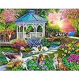 5D DIY Diamond Painting Garden Landscape House Diamond Embroidery Set Diamond Mosaic Art Picture Mural A4 50x70cm