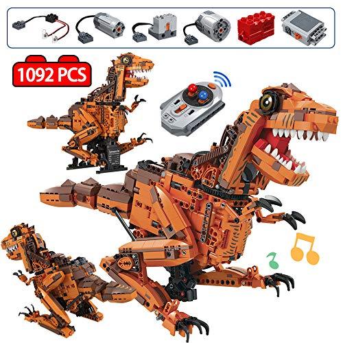 CRYPZYD Bloques de construcción de tiranosaurio eléctricos creativos, Juguetes de Ladrillos de Dinosaurios mundiales para niños, Juguetes de Robots para niños