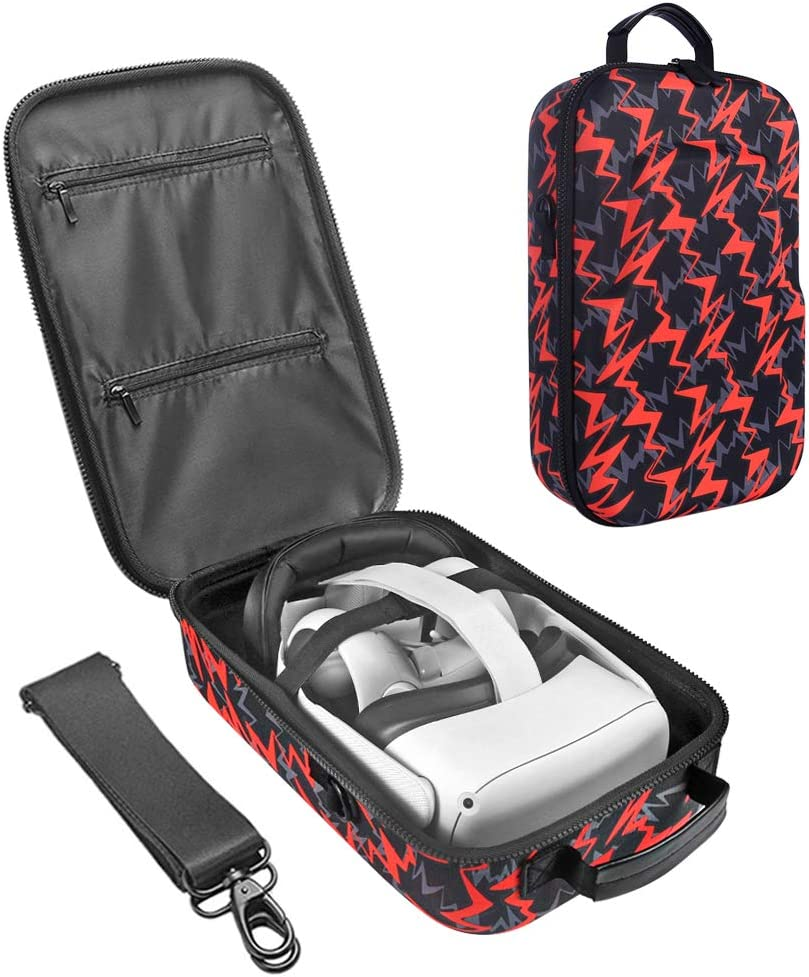 Esimen Fashion Travel Case for Oculus Quest 2 VR Gaming Headset Elite Strap and Controllers Accessories Carrying Bag (Orange)