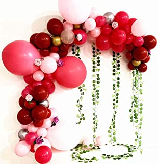 Ruby Red Rose Balloons Arch Garland Kit Artificial Flower Green Leaves Decoration Party Ornaments for Wedding Party Decoration