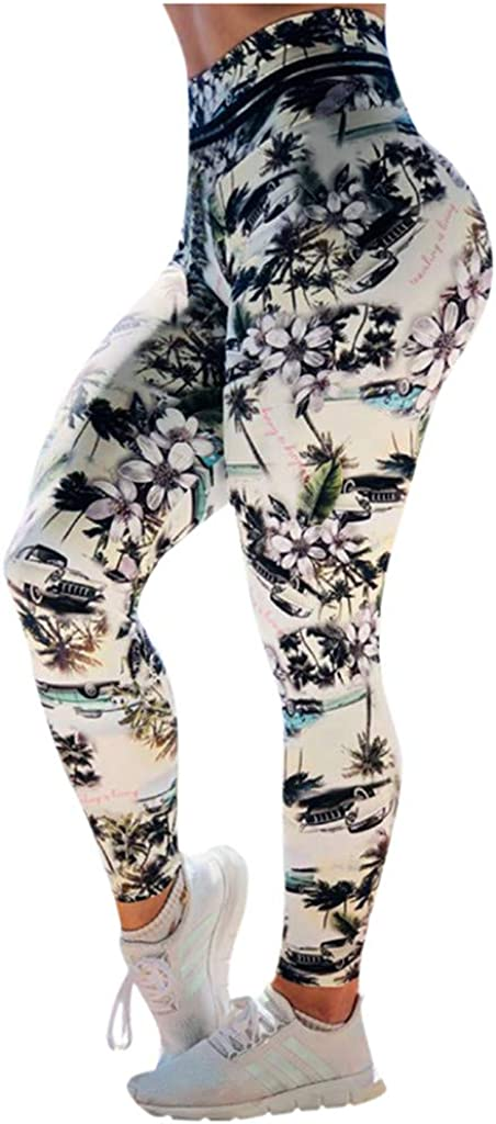 YANG-YI Women Albuquerque Mall Stretch High Be super welcome Waist Fitnes Print Yoga Pants Flowers