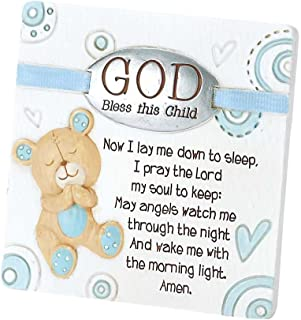 Dicksons Baby Bear God Bless This Child Tabletop Plaque for Boy, White