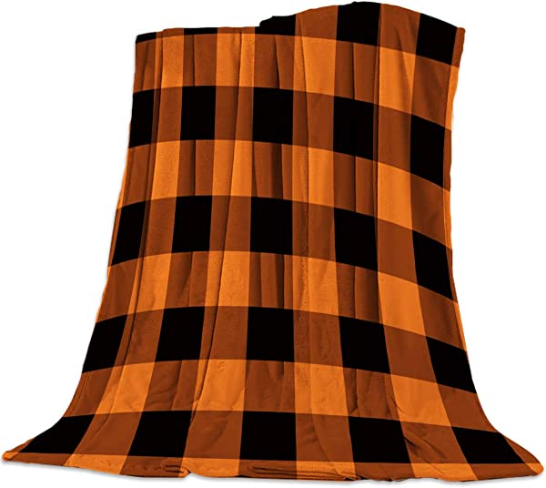 Flannel Throw Blanket Microfiber Lightweight Nap Throw Blanket For Couch Sofa Bed Travel Rustic Orange Halloween Black Buffalo Check Plaid Pattern 40 X 50 Inches
