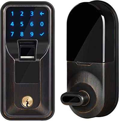iMagic Electronic Fingerprint Deadbolt, Keypad Entry Door Lock, 5-9/16 in, Zinc Construction, Aged Bronze Finish, LED Touch Screen Keypad Lock w/Alarm, One-Touch Locking w/Keys, 1 Kit (IM010101)