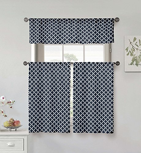 Home Maison Moana Geometric Print Linen Textured Kitchen Tier & Valance Set | Small Window Curtain for Cafe, Bath, Laundry, Bedroom, Royal Blue