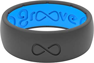 Groove Plus Life Groove Ring The World's First Breathable Silicone Ring Original (Deep Stone Grey/Glacier Blue) (Size 9), 9-Original