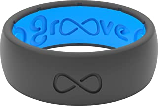 Groove Life - Silicone Ring for Men and Women Wedding or Engagement Rubber Band with Lifetime Coverage, Breathable Grooves, Comfort Fit, and Durability - Original Solid