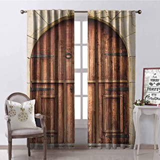 GloriaJohnson Rustic Blackout Curtain Traditional Oak Crafted Doorway on Stone Facade Artisan Hand Made Features Culture 2 Panel Sets W42 x L84 Inch Cream Brown