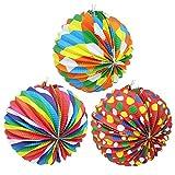com-four® Linterna 3X con Motivos Coloridos - Linterna de Papel para San Martín y Halloween - Linterna Martins para niños [la selección varía] (3 Piezas - Ø 24cm de Color)
