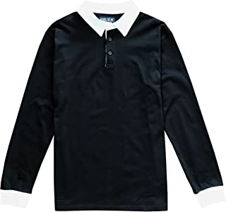 Solid Mens Long Sleeve Sports Polo Rugby Shirt