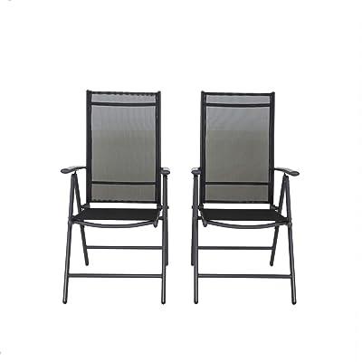 Unbekannt Klappsessel aus Aluminium, hohe Rückenlehne, 7-fach verstellbar, Textilene 4x4, Anthrazit und Schwarz (2 St.) Fauteuil, Anthracite