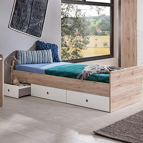 Wimex Bett/ Funktionsbett Lenny, 2 Schubladen, Liegefläche 90x200 cm, San Remo-Eiche/ Absetzung Weiß
