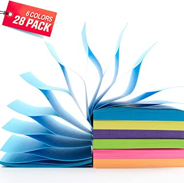 Pop Up Sticky Notes, 28 Pads/Pack, Self Stick Notes 3x3 Inch Assorted Bright Colors, 90 Sheets/Pad