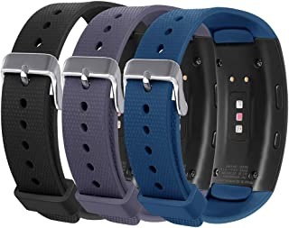 Compatible with Samsung Gear Fit 2 Pro Bands/Fit 2 Band, NAHAI 3 Pack Soft Silicone Replacement Strap Wristband for Samsung Gear Fit2 and Fit2 Pro (Black/Gray/Slate)