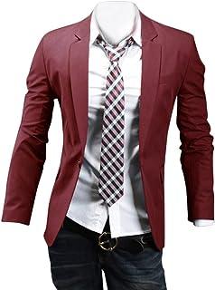ZongSen Mens Slim Fit Casual Formal Dinner Jackets Single Breasted Plain Business Blazer