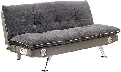 Benjara Benzara Contemporary Futon Sofa, Gray