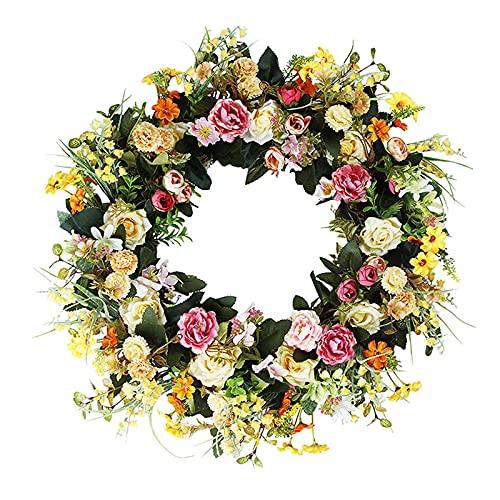 P Prettyia 18 '' Flor de Verano Hecha a Mano de La Ventana de La Guirnalda de La Guirnalda de La Puerta