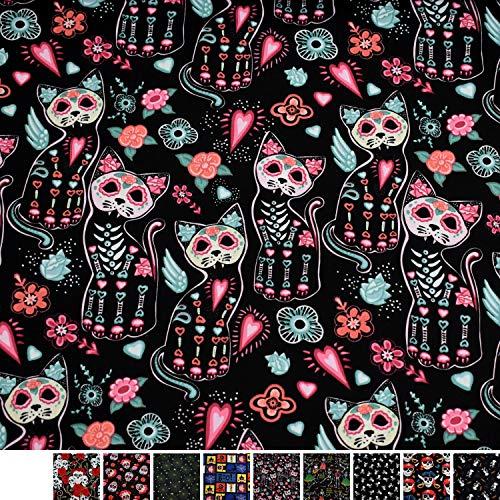 MAGAM-Stoffe Jack Baumwollstoff Popeline Halloween Piraten Skulls Meterware 50cm (5. Katzen)