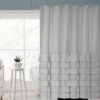 Volens Gray/Grey Ruffle Shower Curtain Farmhouse Rustic Cloth Shower Curtains for Bathroom, Fabric Bath Curtain, 72x72 inch Long
