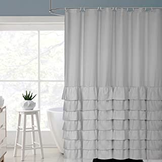 Volens Gray/Grey Ruffle Shower Curtain Farmhouse Rustic Cloth Shower Curtains for Bathroom, Fabric Bath Curtain, 72x72 inch Long