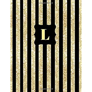 L Gold and Black Glittery Cover, a Composition College Ruled Notebook Journal Diary Jotter Gift to write in for Her, Him, Women, Men, Ladies, Boys ... Subtitle Volume 1 (Monogrammed Gift)