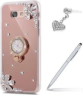 Galaxy J7 V Case,Galaxy J7 Perx Case,Galaxy J7 Sky Pro Case,ikasus Inlaid diamond Flower Rhinestone Diamond Glitter Bling Mirror TPU Case & Ring Stand +Touch Pen Dust Plug for Galaxy J7 2017,Rose Gold