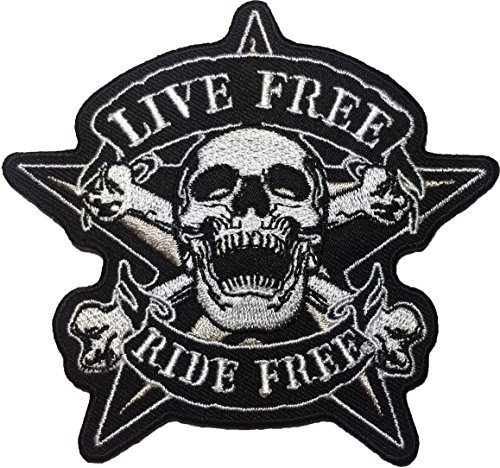 Papapatch Live Freedom Ride Freedom Skull Star Cross Bone Biker Rider Motorcycle Chopper Jacket Vest Costume Sewing on Iron on Embroidered Applique Patch (IRON-RIDE-FREE-SKULL-CROSS)