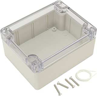 "Awclub ABS Plastic Junction Box, Dustproof Waterproof IP65 Electrical Box - Universal Project Enclosure Grey, with PC Transparent/Clear Cover 4.53""x3.54""x2.16""(115mm x 90mm x 55mm)"