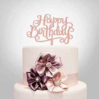 Happy Birthday Cake Topper, Rose Gold Acrylic Calligraphy Bling Cake Decoration Sign Party Banner (Rose Gold)