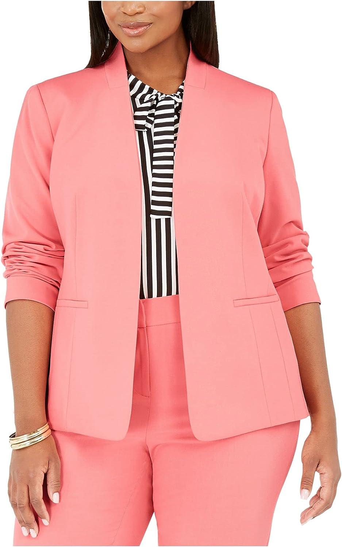 Bar III Womens Plus Collarless Open Front Jacket