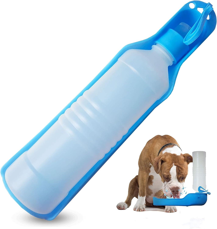 Botella para Perros, Bebedero Perro Portatil, Bebedero Perro, Botella Agua Perro, Dispensador de Agua para Mascotas, Bebedero para Viajes al Aire Libre Mascota, Bebedero Azul Rosa (Azul)