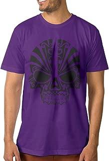 Gooshirt Tribal Skull Tattoo Native Totem Men's White Round Neck Tee Shirt