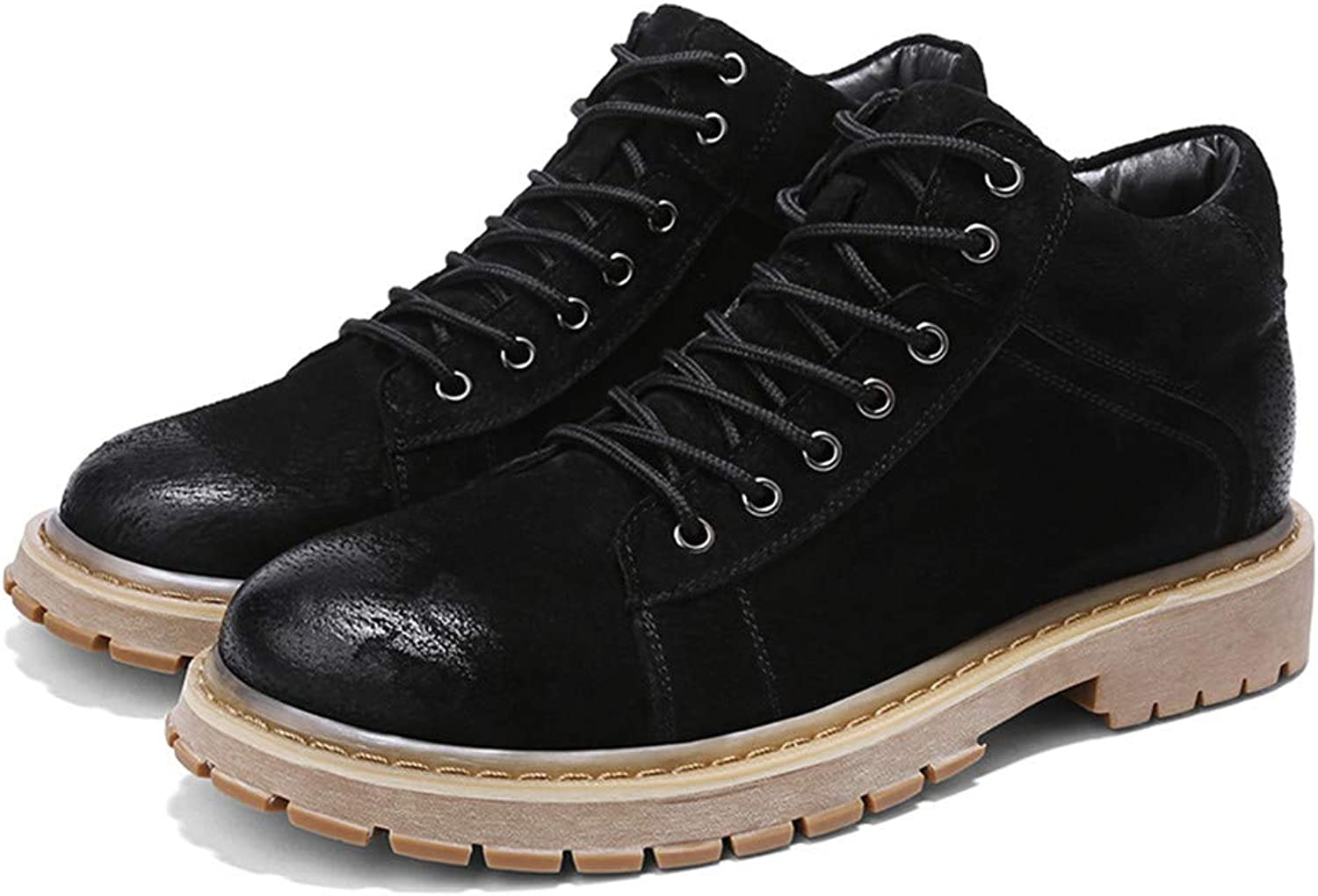 Ying xinguang Men's Ankle Boots Casual Fashion Retro Comfortable Non-Slip Outsole High Top Work shoes
