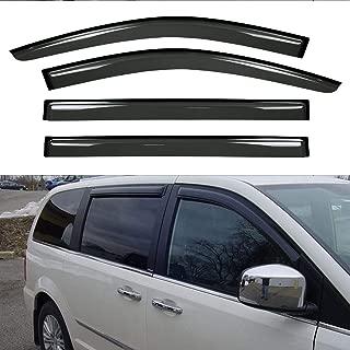 Deebior 4pcs Tape On Dark Smoke Out Channel Style Sun/Rain Guard Vent Shade Window Visors Wind Deflectors for 08-16 Chrysler Town & Country Dodge Grand Caravan