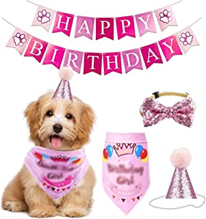 JJZXD Handmade Adjustable Pet Birthday Party Decor Cats Dog Scarf Hat Collar Banner Accessories for DIY Pet Party Supplies...