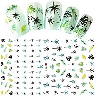 3D Nail Sticker Palm Tree Green Black Summer Sticker DIY Adhesive Tips Nail Art Decorations Women Nail Decals