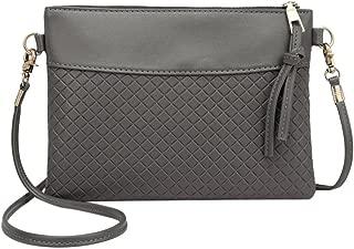 Everpert Women Plaid Envelope Handbags Pu Leather Messenger Shoulder Bags/Black
