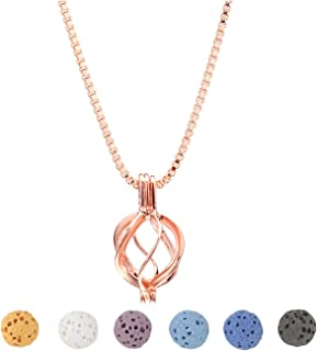 Top Plaza Womens Lava Rock Stone Aromatherapy Essential Oil Diffuser Necklace Twisted Round Locket Pendant Necklaces Jewelry With 6 Lava Stone Beads