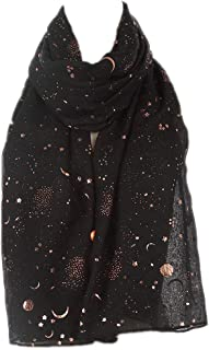 Fashion Scarf for Women, Lightweight Colorful Shawl with Star Moon Pattern for Girls Ladies Women