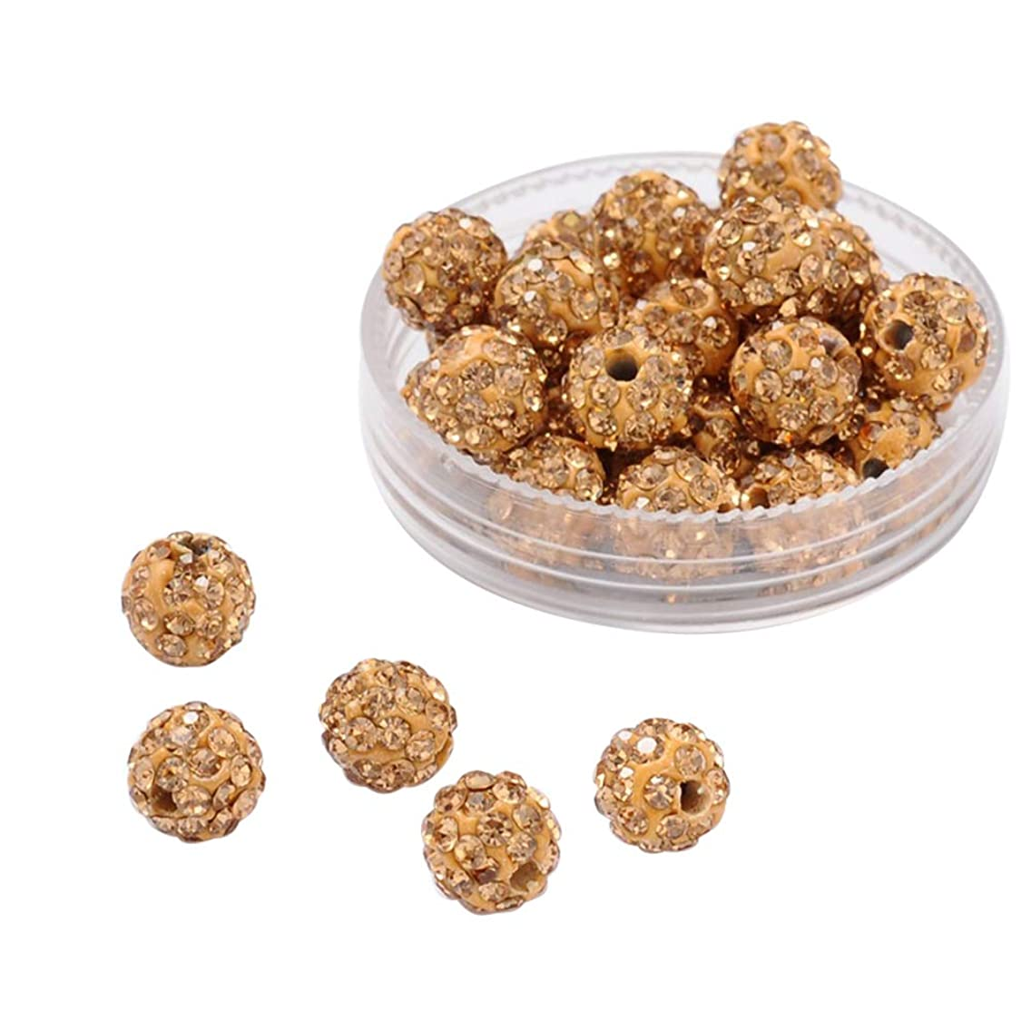 PH PandaHall About 100 Pcs 8mm Clay Pave Disco Ball Czech Crystal Rhinestone Shamballa Beads Charm Round Spacer Bead for Jewelry Making Light Brown