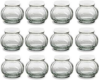 Nakpunar 12 pcs 8 oz Round Glass Jars with White Lids - Canning, Preserving (8 oz, White)