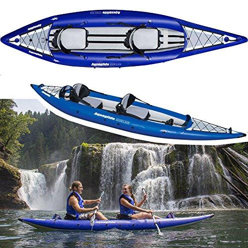 Aquaglide Chelan HB Zwei Aufblasbarer Hochdruckkajak für 1-2 Personen Blau - Nur Kajak - Kapazität: 400 lbs (181 kg) 1-2 Person