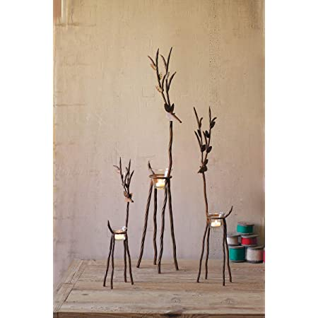 Kalalou Rustic Iron Reindeer Candleholder With One Tealight Holder Set Of 3 Home Kitchen