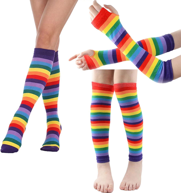 KADBLE Womens Rainbow Socks Striped Knee High Socks Arm Warmer Leg Warmer Set