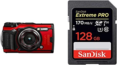 Olympus TG ? 6 Red Water Proof Camera, 12 MP, 4X Zoom Lens, LCD Rear Screen + SanDisk 128GB Extreme Pro SDXC UHS-I Card - ...