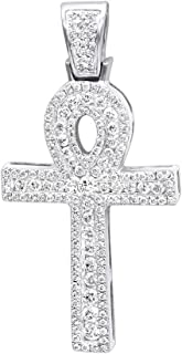 14K Rose, White or Yellow Gold Unique Diamond Cross Pendant Egyptian Ankh Symbol of Life 1ctw by Luxurman