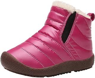 KINGLEN Baby Toddler Kids Waterproof Snow Boots Winter Anti-Slip Fur Lined Ankle Booties(Toddler/Little Kid/Big Kid)