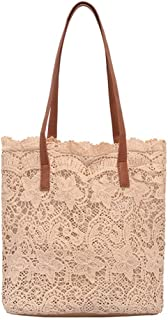 Wultia - Fashion Lady Literary Lace Hollow Versatile Handbag Shoulder Bag and Clutch Bag Ladies Hand Bags Bolsa Feminina 7.33#T08 Khaki