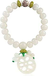 Smiling sunflower White Jade Bodhi Root Lotus Hand String Bodhi Buddha Beads Rosary Beads for Men and Women with a Single ...